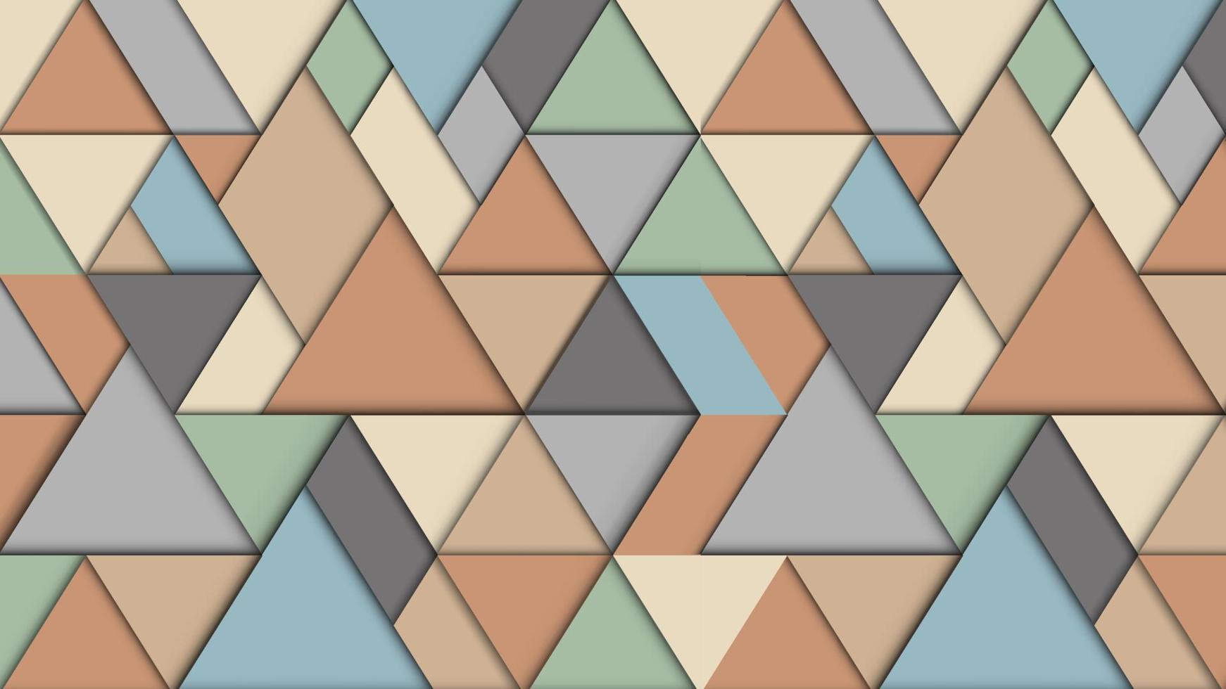 fundo abstrato geométrico com triângulos, efeito 3D, cores pastel retrô vetor