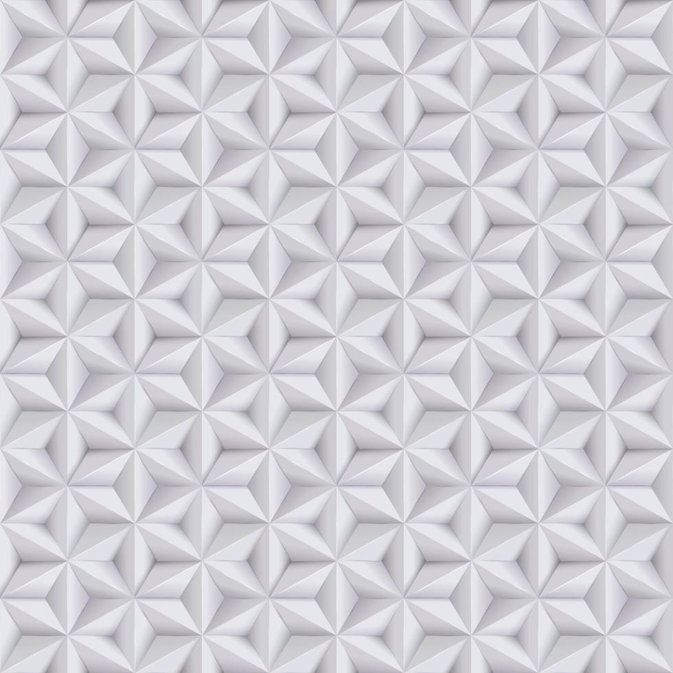 branco abstrato, fundo cinza, padrão sem emenda de papel 3D com estrelas, textura geométrica vetor