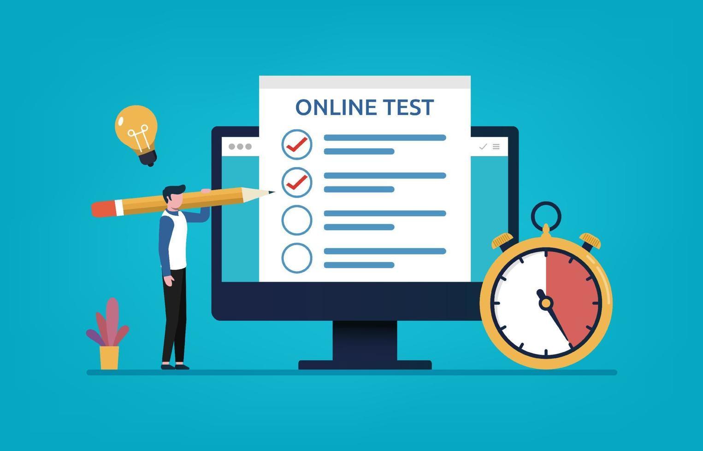 teste online, preenchimento do homem no monitor via internet ilustração vetorial vetor