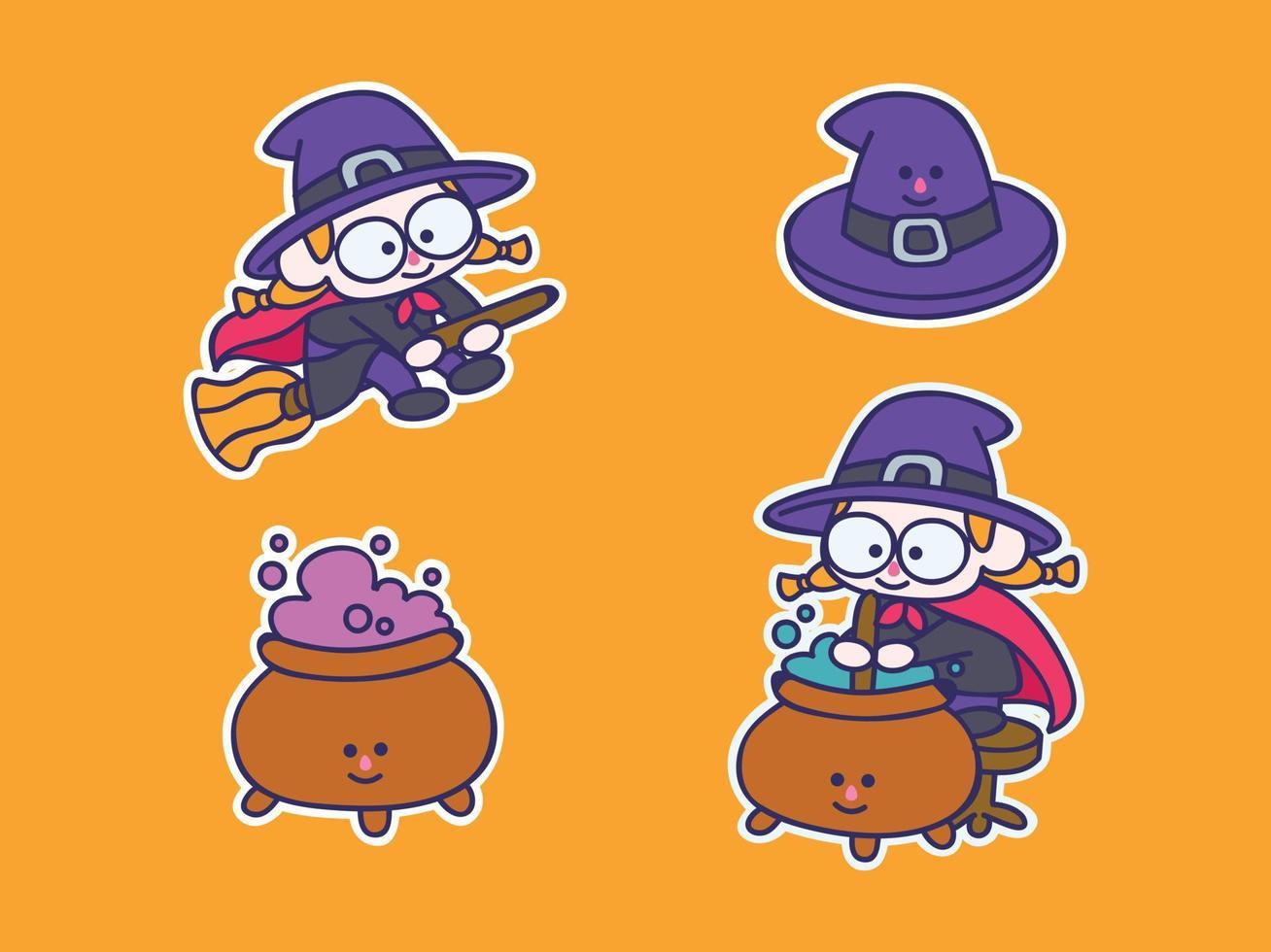 Conjunto de ilustração de adesivo de mascote de bruxa fofa e kawaii, voar na vassoura, chapéu, misturar a poção vetor