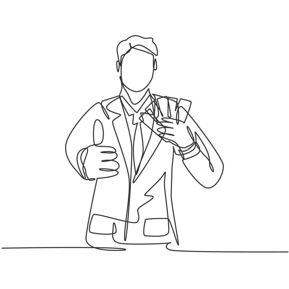 um desenho de linha de homem de negócios feliz jovem segurando a pilha de papel de dinheiro e dá os polegares para cima gesto. conceito de sucesso empresarial. ilustração em vetor desenho desenho em linha contínua