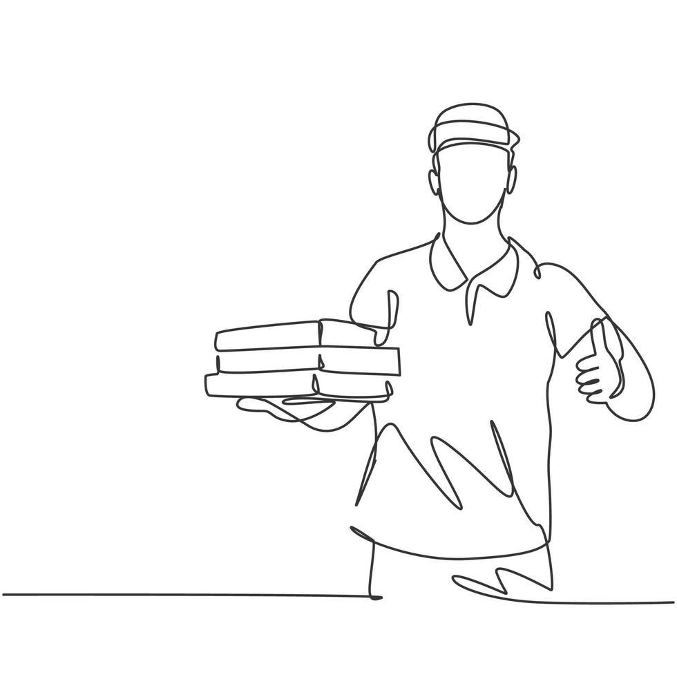 um desenho de linha de um jovem entregador de pizza faz um gesto de polegar para cima enquanto entrega o pacote ao cliente. conceito de negócio de serviço de entrega de comida. gráfico vetorial de desenho de linha contínua vetor