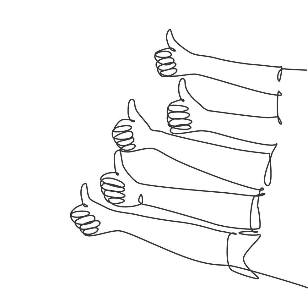 um desenho de linha de pessoas braço as mãos com os polegares para cima gesto. excelência em bons serviços no conceito de setor empresarial. ilustração gráfica de vetor de desenho de linha contínua