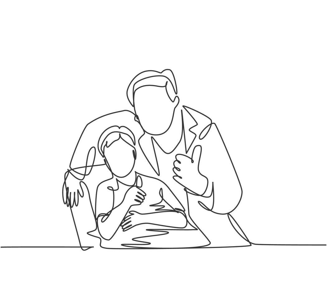 um desenho de linha de homem jovem dentista acalmando seu paciente menino e dando polegares para cima gesto. conceito de cuidados de saúde de dentes. ilustração gráfica de vetor de desenho de linha contínua