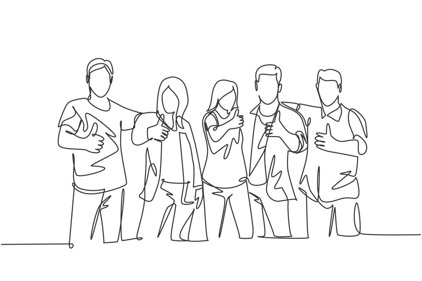 um desenho de linha de grupos de jovens estudantes universitários felizes fazendo gesto de polegar para cima depois de estudar juntos na biblioteca do campus. aprender e estudar no conceito de vida universitária. desenho de desenho de linha contínua vetor