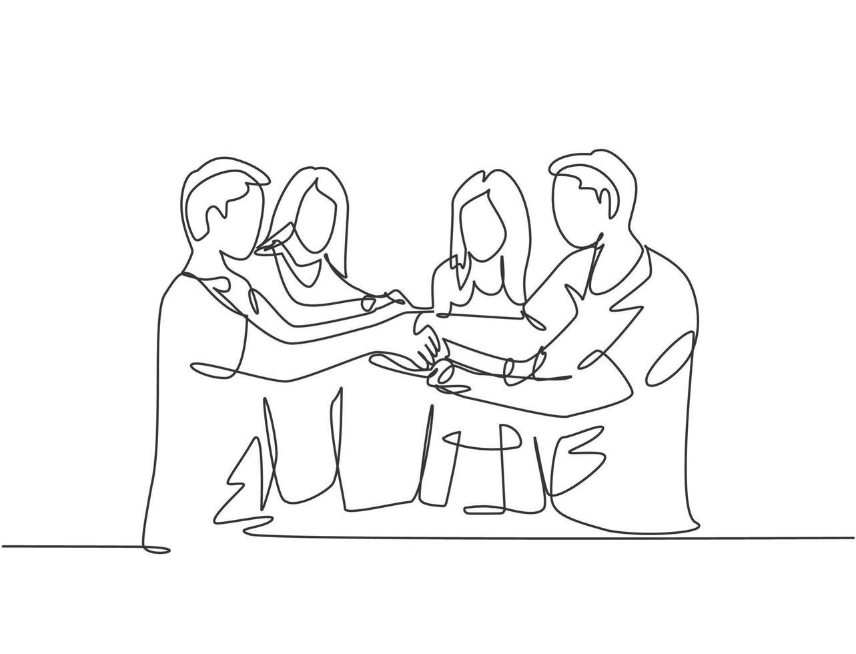 desenho de linha contínua de grupo de jovens negócios, segurando a mão juntos como uma grande equipe. conceito de trabalho em equipe de negócios. design de desenho de linha única, ilustração gráfica vetorial vetor