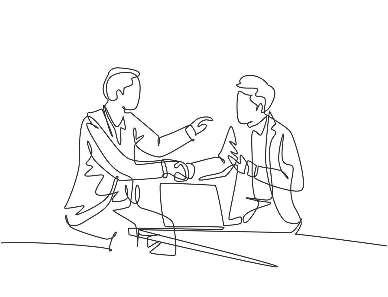 desenho de linha contínua de homens de negócios apertando a mão de seu colega para lidar com um projeto. reunião de negócios no conceito de escritório. design de desenho de linha única, ilustração gráfica vetorial vetor