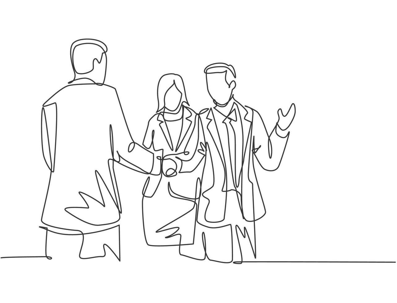 desenho de linha contínua de homem de negócios, aperto de mão a seu colega para lidar com um projeto. conceito de reunião de negócios. desenho de linha única, ilustração vetorial de design vetor