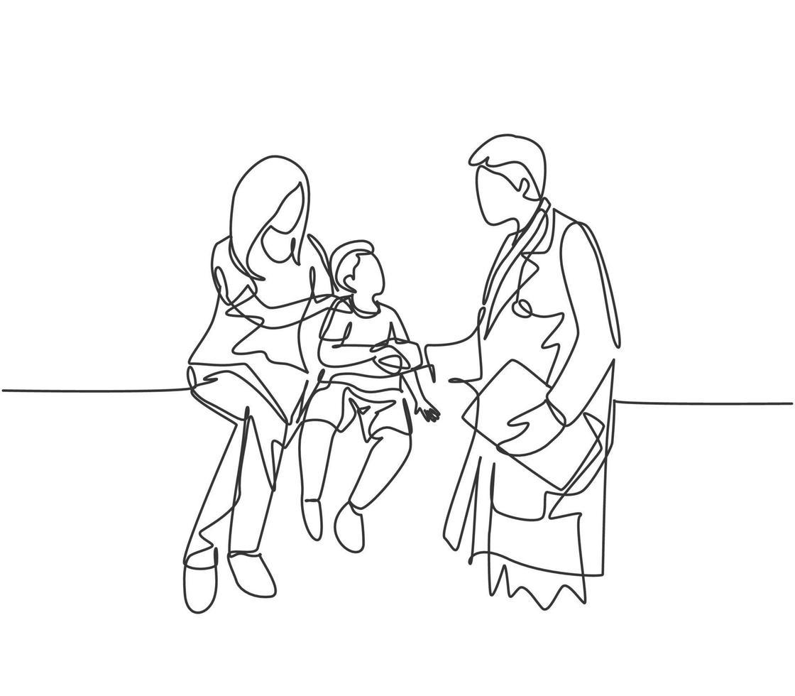 um desenho de linha do médico apertando a mão do paciente jovem e verificar sua condição. conceito de condição médica de cuidados de saúde. ilustração vetorial de desenho de linha contínua vetor