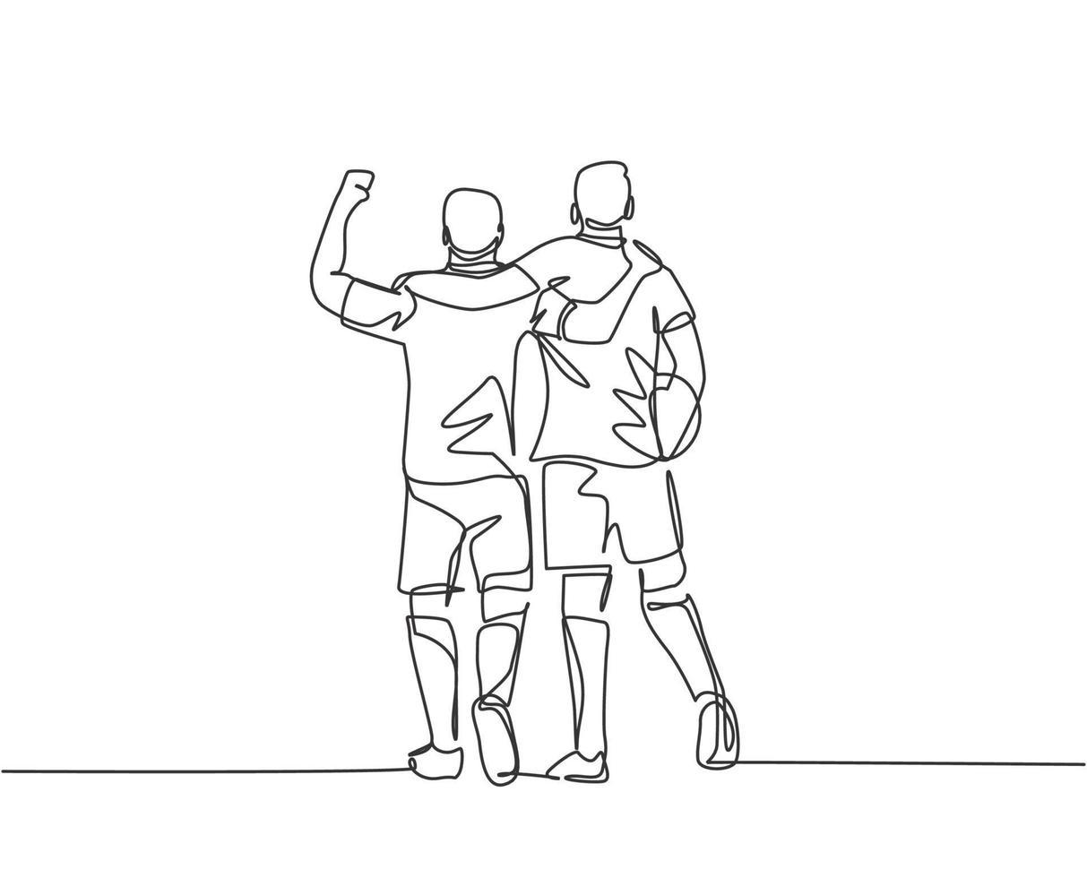 desenho de linha contínua de dois jogadores de futebol trazendo uma bola e caminhando juntos para mostrar o espírito esportivo. respeito no conceito de esporte de futebol. ilustração vetorial desenho de uma linha vetor