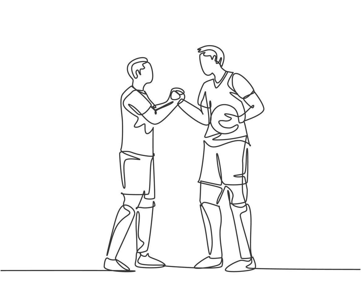 desenho de linha contínua de dois jogadores de futebol trazendo uma bola e um aperto de mão para mostrar o espírito esportivo antes de iniciar a partida. respeito no conceito de esporte de futebol. ilustração vetorial desenho de uma linha vetor