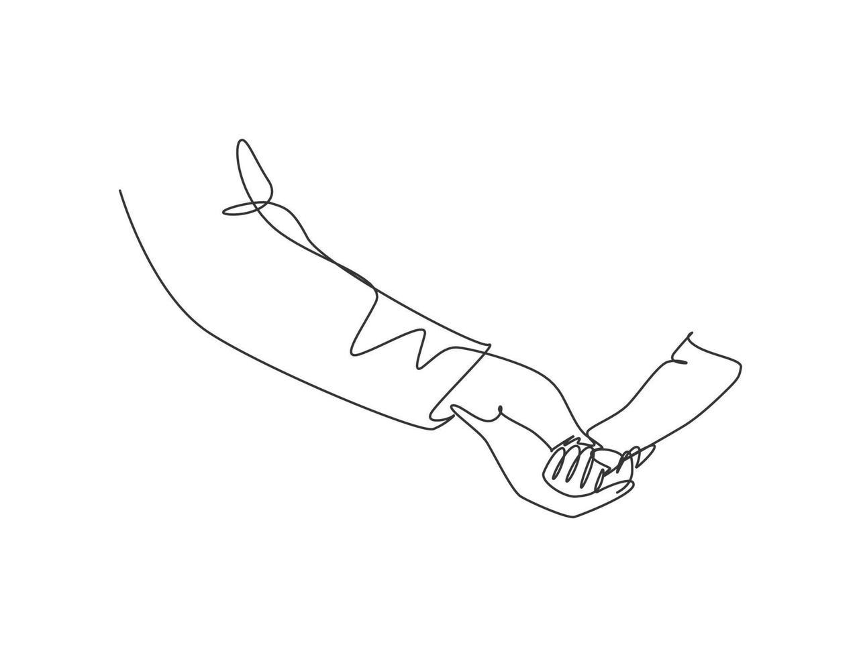 um desenho de linha do pai segurando a mão da filha. conceito de maternidade dos pais. família feliz em estilo de design de desenho de linha contínua. ilustração do gráfico vetorial conceito parental vetor