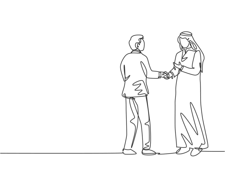 desenho de linha única de empresários cumprimentando seu parceiro de negócios árabe. ótimo trabalho em equipe. conceito de negócio de projeto de negócio com ilustração gráfica de vetor de estilo de desenho de linha contínua dinâmica