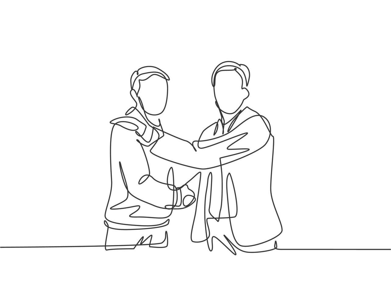 desenho de linha única de empresários apertando a mão de seu parceiro de negócios depois de conseguir um grande projeto. ótimo trabalho em equipe. conceito de negócio com ilustração gráfica de vetor de estilo de desenho de linha contínua