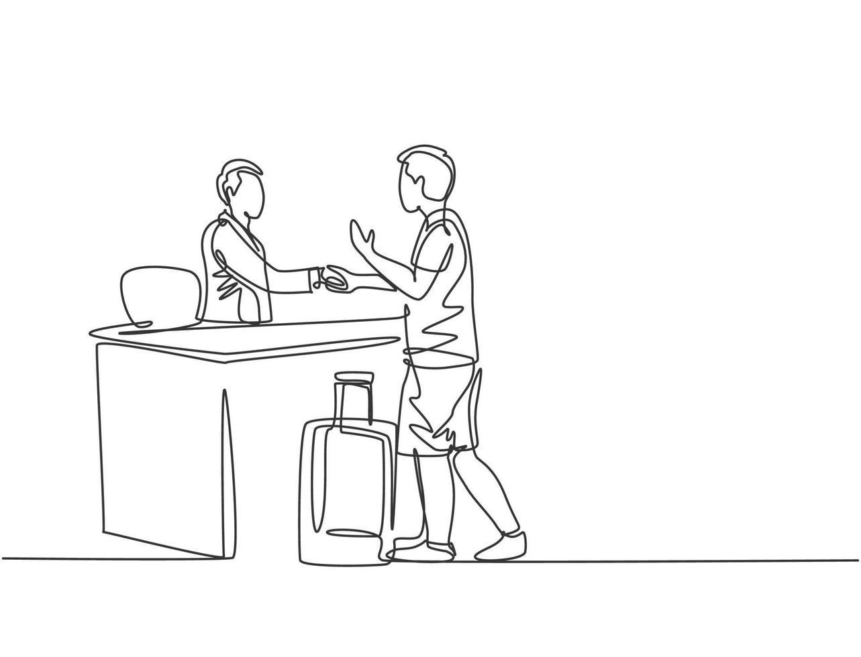 um desenho de linha de um jovem turista masculino apertando a mão da recepcionista do hotel e peça para reservar um quarto enquanto segura uma bagagem. conceito de viagem. ilustração gráfica moderna de desenho de linha contínua vetor