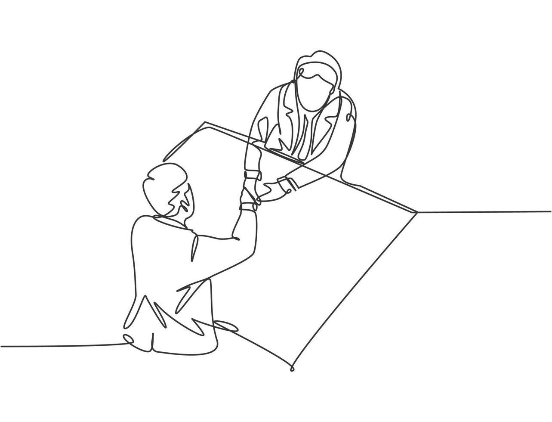desenho de linha única de empresários apertando a mão de seu parceiro de negócios depois de conseguir um grande projeto. ótimo trabalho em equipe. conceito de negócio com ilustração gráfica de vetor de estilo moderno de desenho de linha contínua