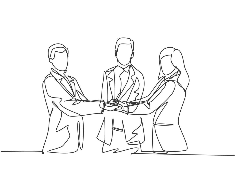 desenho de linha única de homens de negócios e mulheres de negócios se cumprimentando. grande compromisso com o trabalho em equipe. conceito de negócio com ilustração gráfica de estilo de desenho de linha contínua vetor