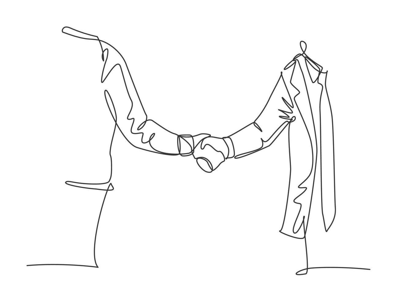 desenho de linha única de empresários na suíte cumprimentando seu parceiro de negócios. ótimo trabalho em equipe. conceito de negócio com ilustração gráfica de estilo moderno de desenho de linha contínua vetor