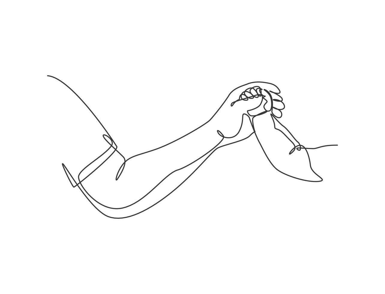 um desenho de linha do pai dando a mão ao filho. cuidados com a mãe em estilo de design de desenho de linha contínua. ilustração em vetor conceito parental