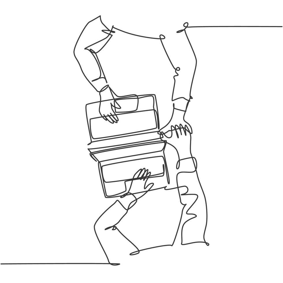 um desenho de linha de dois jovens felizes parceiros de negócios dando mais cinco gestos acima de seu laptop e contrato de negócios. conceito de negócio de negócios linha contínua desenhar design ilustração gráfica de vetor