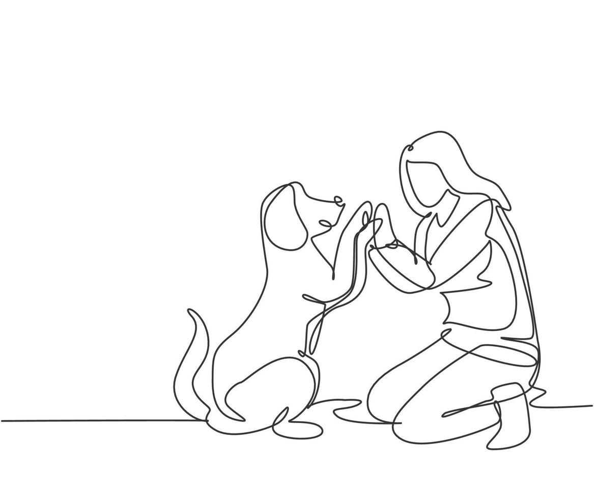 um desenho de linha de uma jovem mulher feliz agachado, em seguida, dando mais cinco gestos para seu cachorro no parque de campo como símbolo de amizade. conceito de cuidados com animais de estimação. ilustração em vetor desenho moderno linha contínua