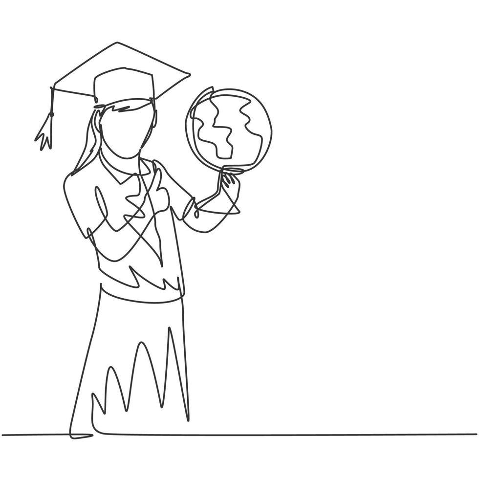 um desenho de linha de jovem estudante feliz carregando um globo e usando chapéu de formatura e dando polegares para cima gesto. conceito de educação linha contínua desenho gráfico ilustração vetorial vetor