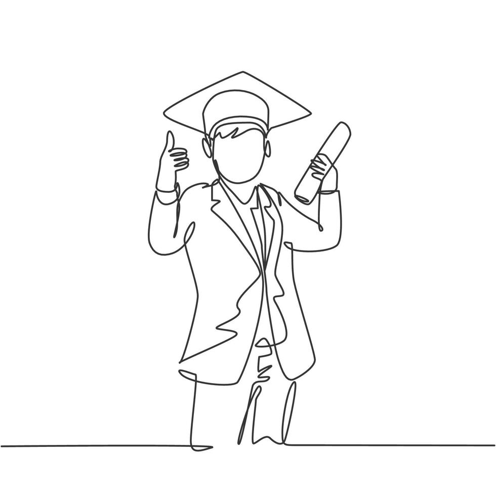 um desenho de linha do estudante jovem feliz usando chapéu de formatura e dando polegares para cima gesto, segurando o rolo de papel de formatura. conceito de educação linha contínua desenho ilustração vetorial vetor