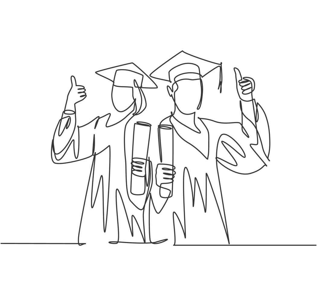 um desenho de linha de jovem casal feliz estudante masculino e feminino vestindo uniforme de formatura e segurando o papel do certificado do diploma. conceito de educação linha contínua desenho ilustração vetorial vetor