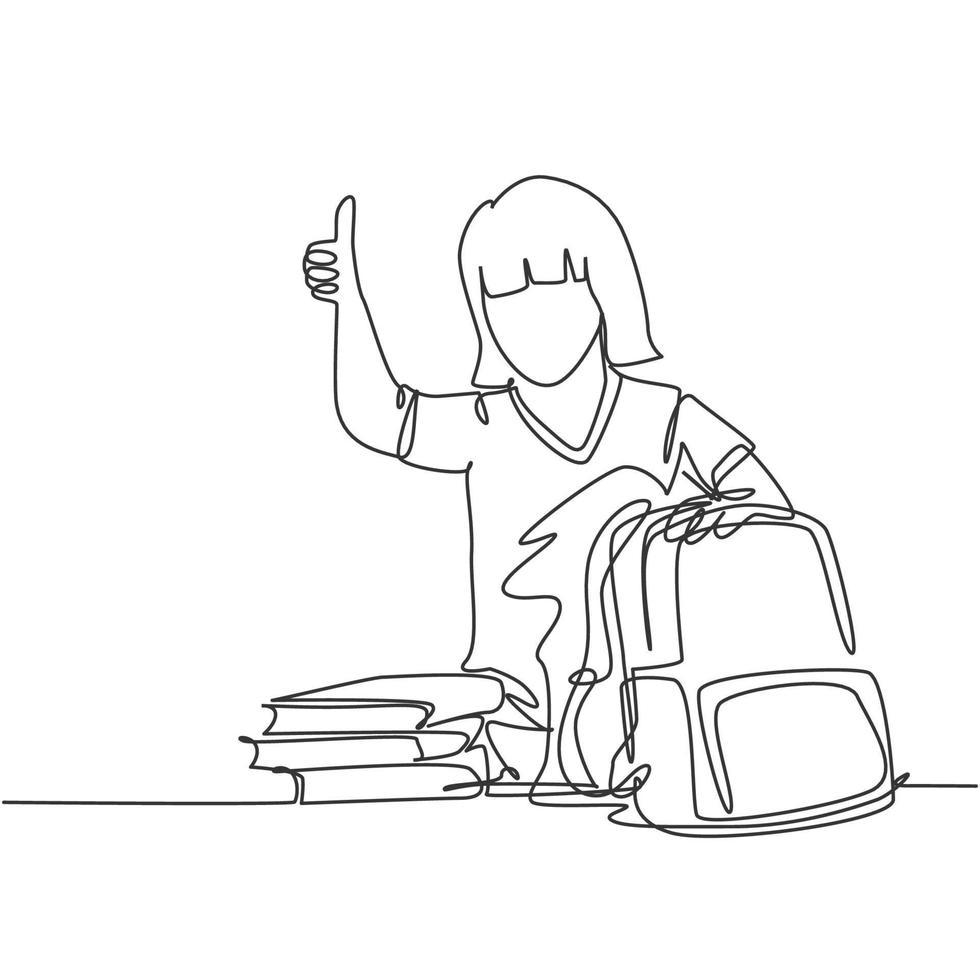 um desenho de linha de jovem estudante de escola primária feliz empacotando a pilha de livros para colocar na bolsa. conceito de educação linha contínua desenhar ilustração vetorial de design gráfico vetor