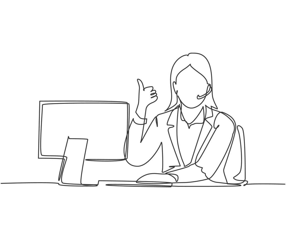desenho de linha única do trabalhador de call center feminino jovem sentado na frente do computador e atender o telefone do cliente. atendimento ao cliente conceito de negócio linha contínua desenho ilustração vetorial vetor