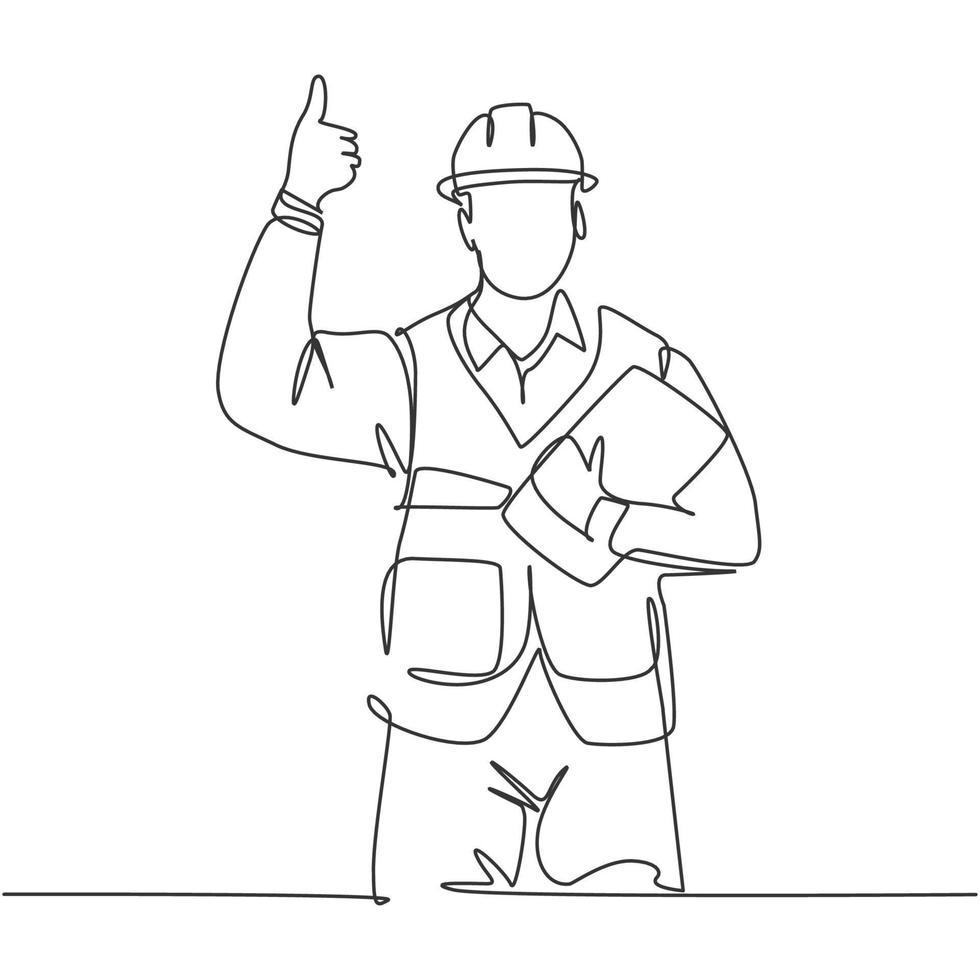 desenho de linha única do jovem trabalhador da construção civil, carregando a prancheta e dando polegares para cima gesto. conceito de construtor de construção. ilustração em vetor desenho desenho em linha contínua