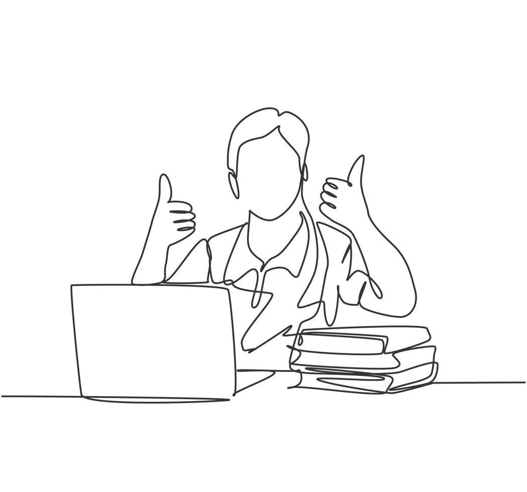 desenho de linha única do estudo do jovem estudante universitário feliz masculino na biblioteca do campus ao lado da pilha de livros e laptop. conceito de educação. ilustração em vetor desenho desenho em linha contínua