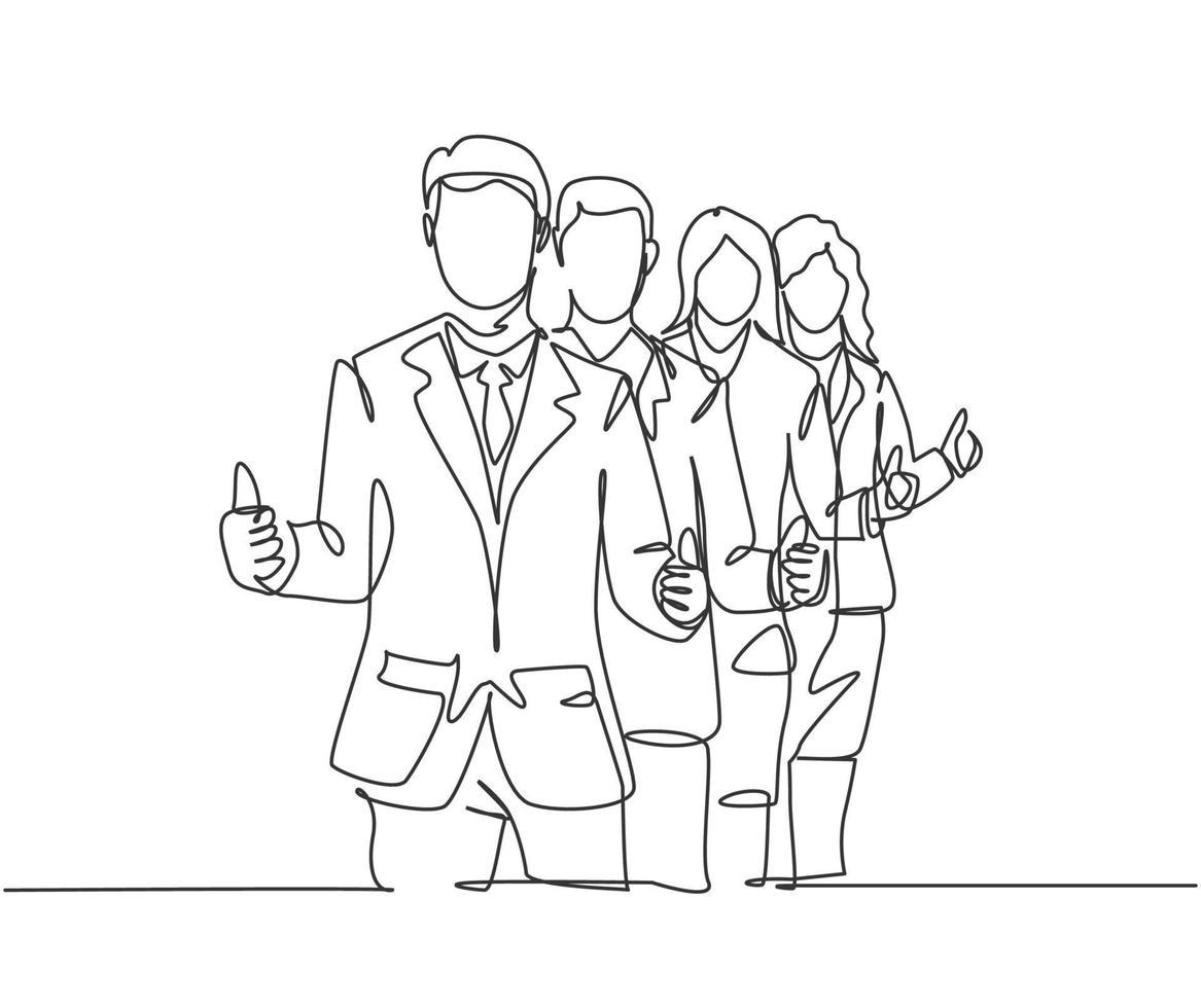 grupo de desenho de linha única de jovens empresários felizes, levantando-se juntos e dando polegares para cima gesto. conceito de trabalho em equipe de negócios. ilustração em vetor desenho desenho em linha contínua