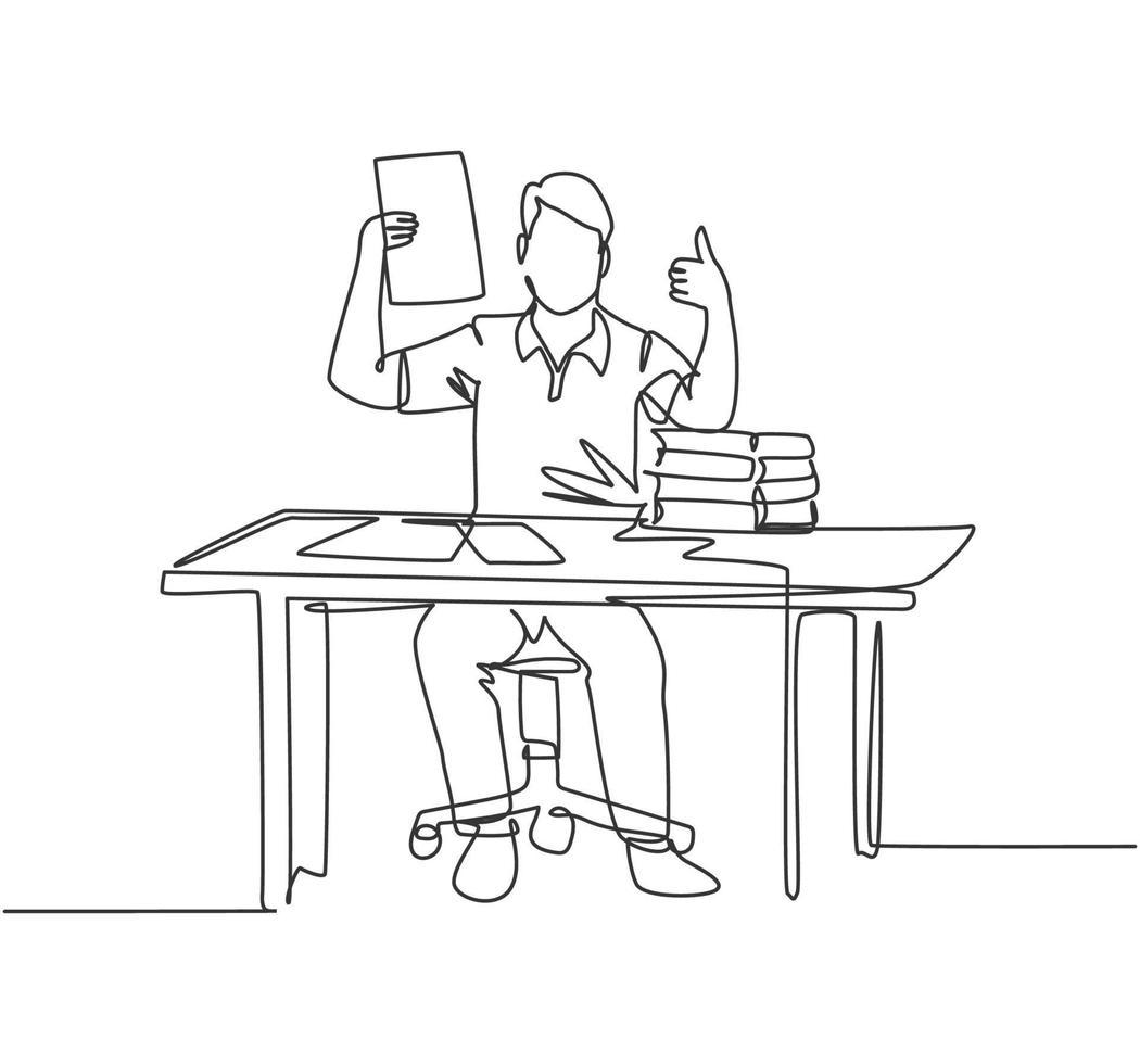 desenho de linha única do jovem empresário feliz mostra uma prancheta contendo o contrato comercial e dando os polegares para cima gesto. conceito de negócio. ilustração em vetor desenho desenho em linha contínua
