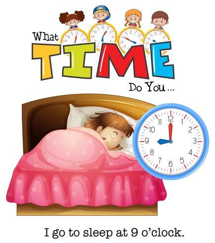 Uma menina dormir às 9 horas vetor