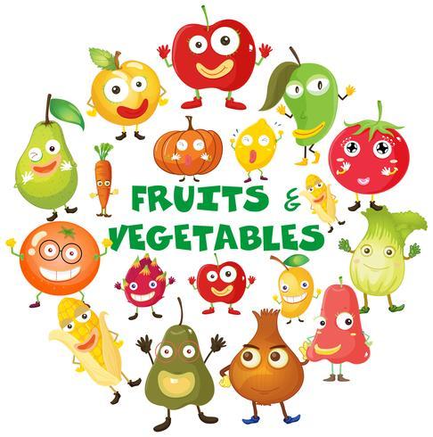 Frutas e vegetais com rostos vetor