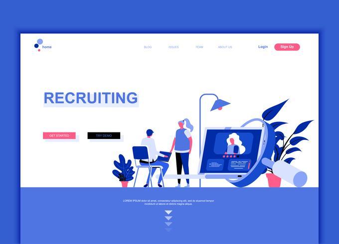 Conceito de modelo de design moderno web página plana de recrutamento vetor