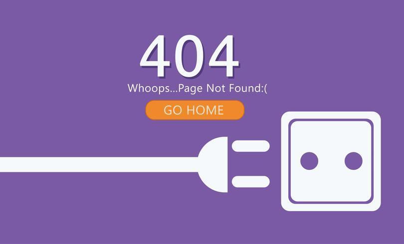 Página 404 não encontrado. Fio com soquete. Ilustração plana de vetor