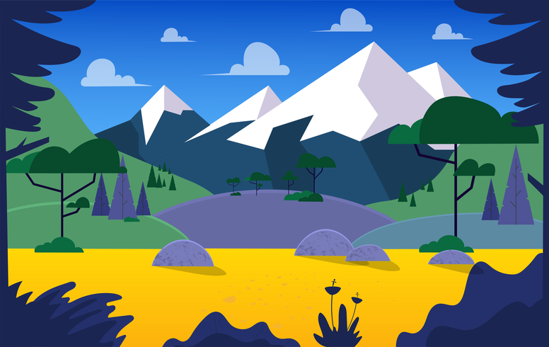 Vetorial, paisagem, ilustração vetor