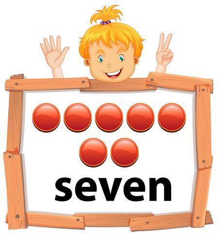 Menina, mostrando, numere número, bandeira vetor
