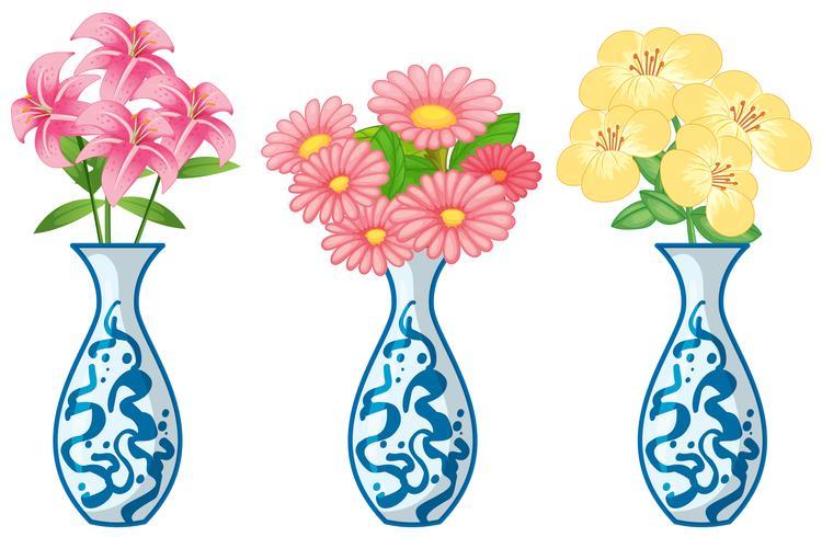 Flores em vaso ceremic vetor