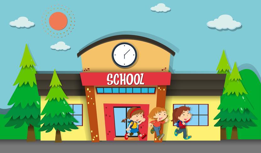Crianças saindo da escola à noite vetor