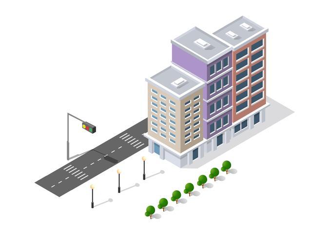 Bairro da rua da cidade casas isométrica vetor