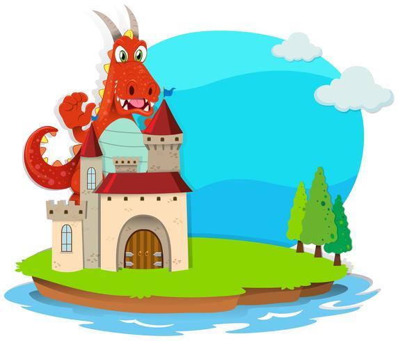 Dragão destruindo o castelo vetor