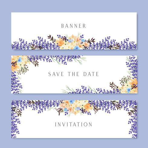 Aquarela flores com banner de texto, exuberante flores aquarelle pintados à mão isolado no fundo branco. Design fronteira para cartão, salvar a data, cartões de convite de casamento, cartaz, design de banner. vetor