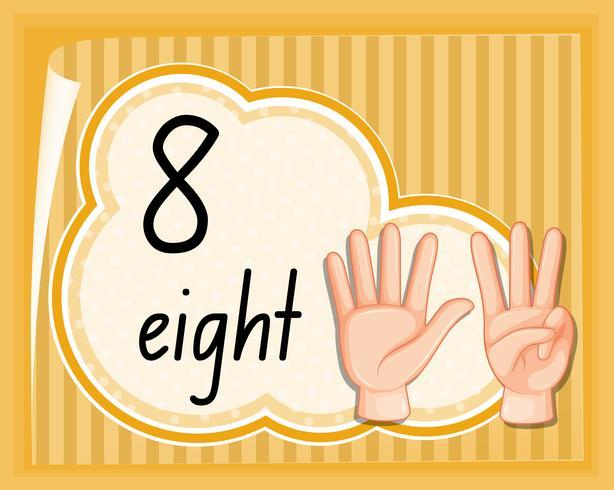 Contar, oito, com, gesto mão vetor