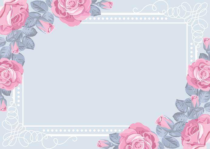 Modelo de cartão de flora com rosas e moldura. vetor
