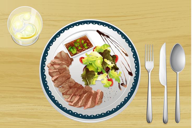 Carne e salada vetor