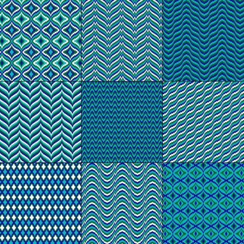 padrões geométricos de bargello verde azul mod vetor