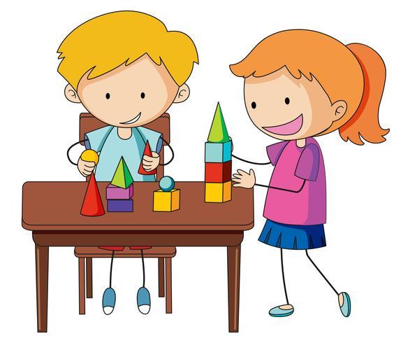 Doodle menino anf menina aprendendo tijolo vetor